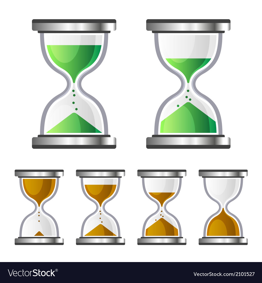 Sand clock glass timer icons on white background vector | Price: 1 Credit (USD $1)