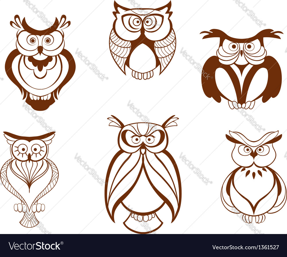 Set of cartoon owl birds vector | Price: 1 Credit (USD $1)
