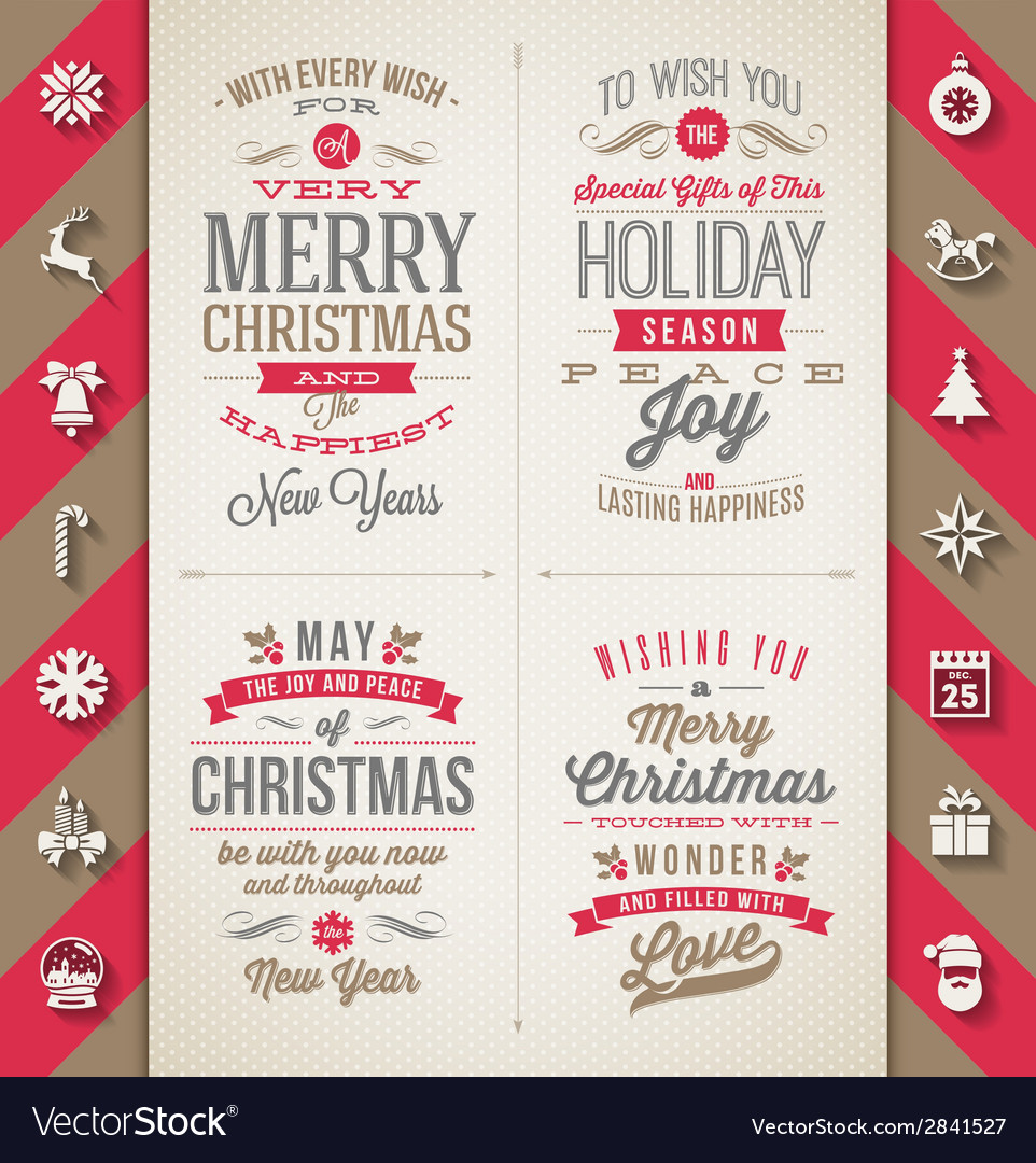 Set of christmas type designs and flat icons vector | Price: 1 Credit (USD $1)