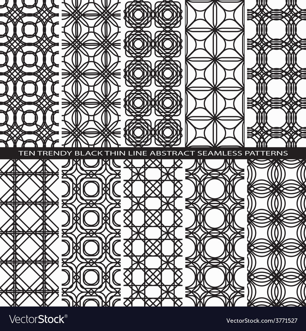 Set of trendy vintage black thin line seamless vector | Price: 1 Credit (USD $1)