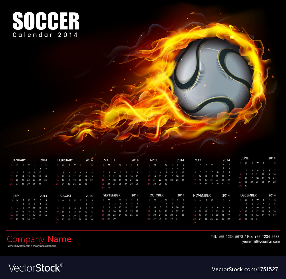 Soccer fire calendar 2014 vector | Price: 1 Credit (USD $1)