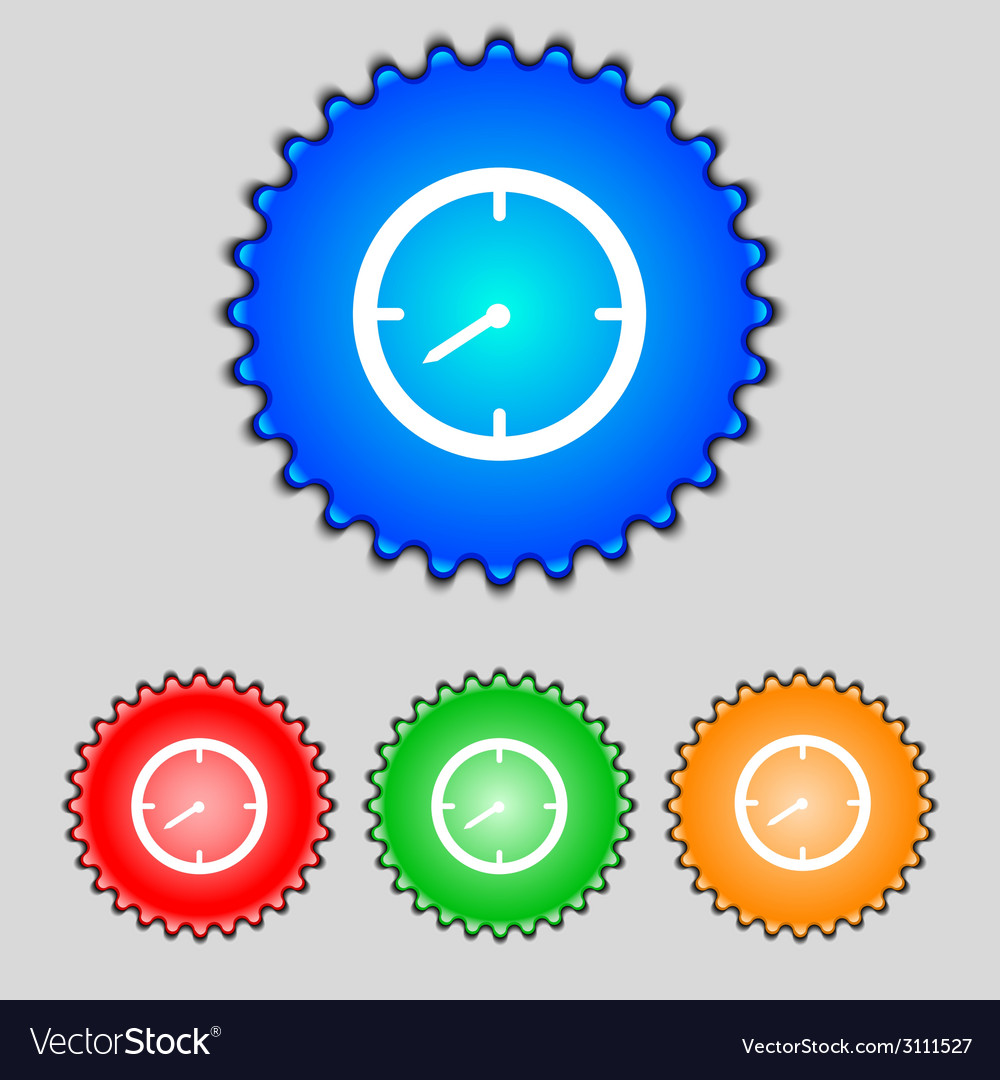 Timer sign icon stopwatch symbol set of colourful vector | Price: 1 Credit (USD $1)