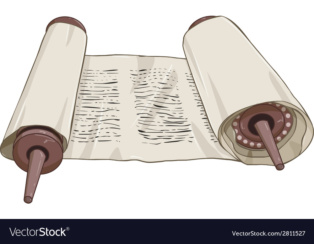 Traditional jewish torah scroll with text vector | Price: 1 Credit (USD $1)