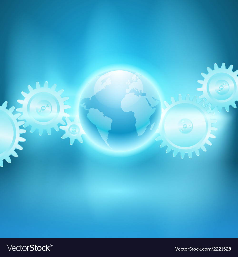 Abstract blue background with gear transmission vector | Price: 1 Credit (USD $1)