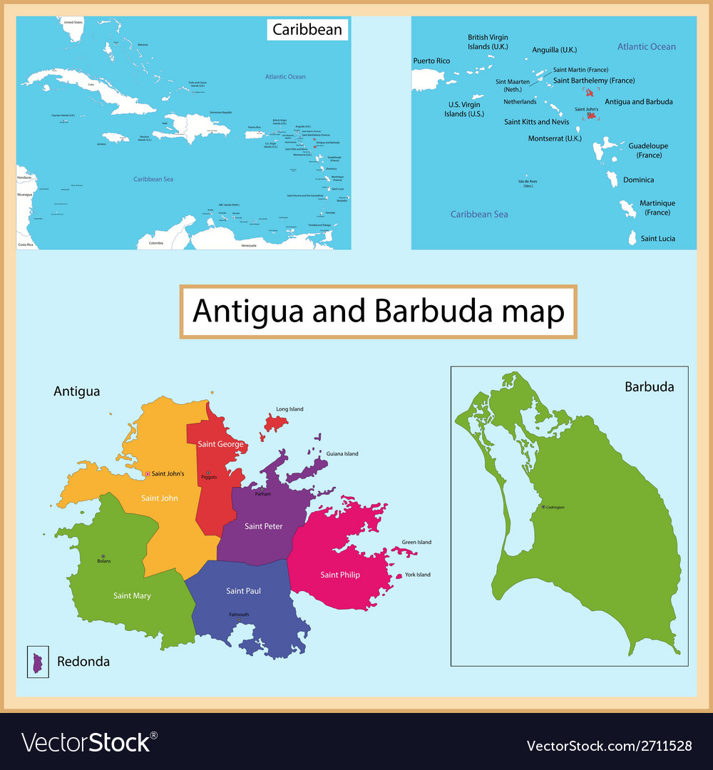 Antigua and barbuda map vector | Price: 1 Credit (USD $1)