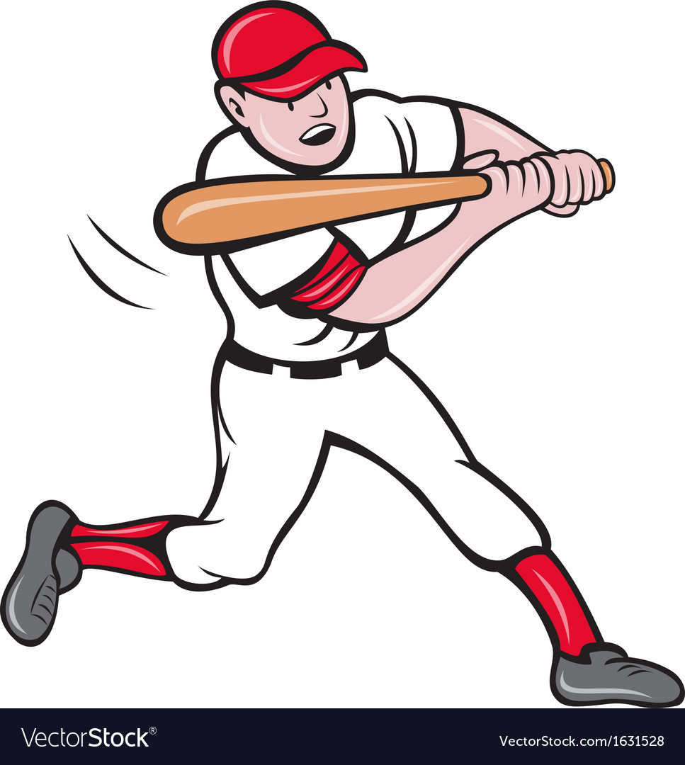 Baseball player batting cartoon style vector | Price: 1 Credit (USD $1)