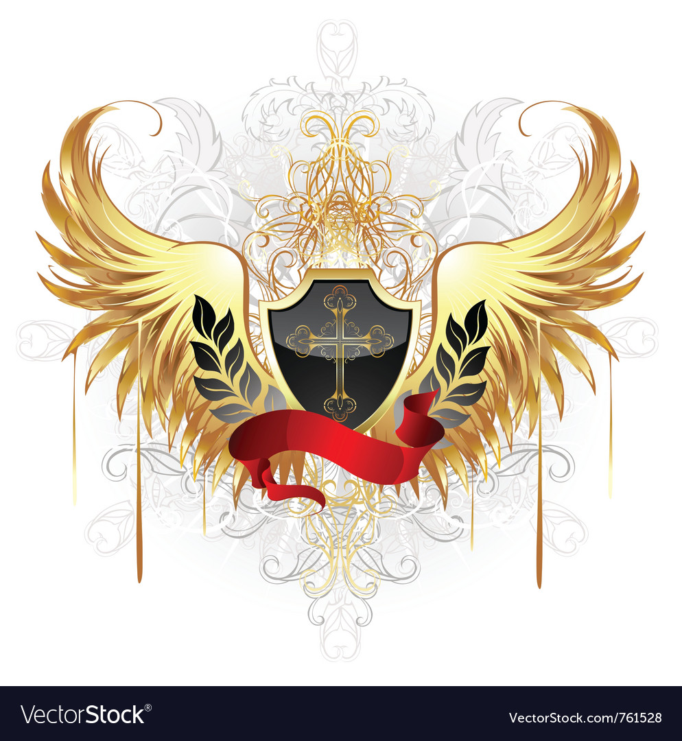 Black shield gold cross vector | Price: 1 Credit (USD $1)