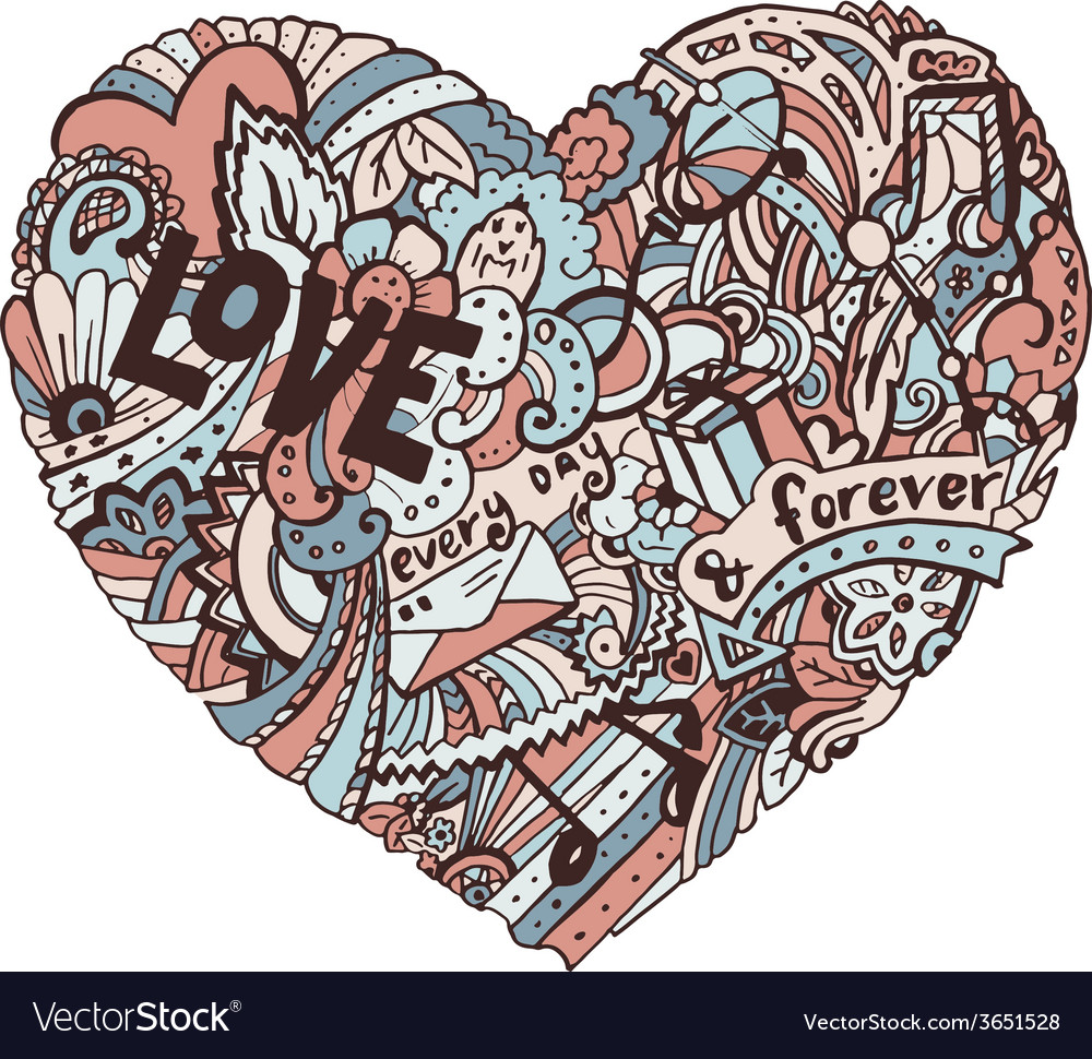 Doodle colorful heart with ornate otnament vector   Price: 1 Credit (USD $1)