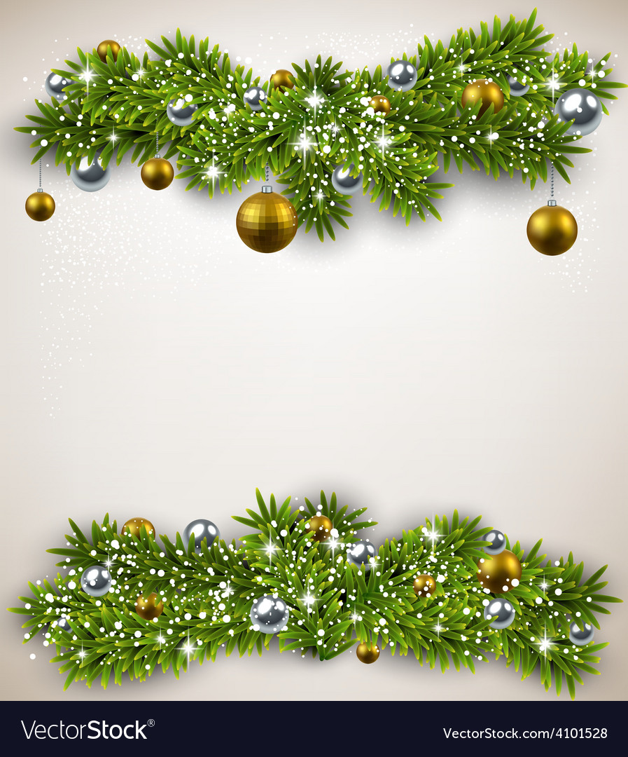 Fir bundle christmas frame vector | Price: 1 Credit (USD $1)