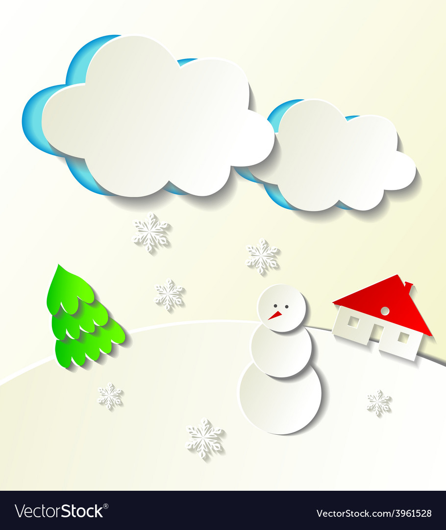 Paper cut out winter concept vector | Price: 1 Credit (USD $1)