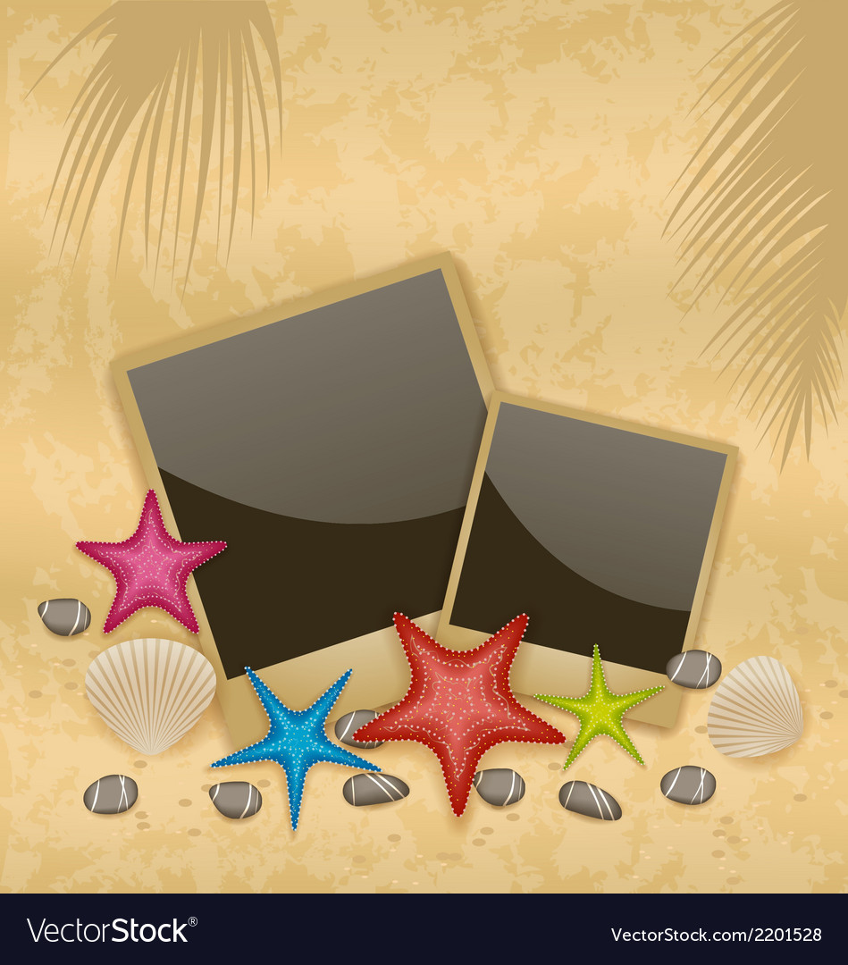 Sand background with photo frames starfishes vector | Price: 1 Credit (USD $1)