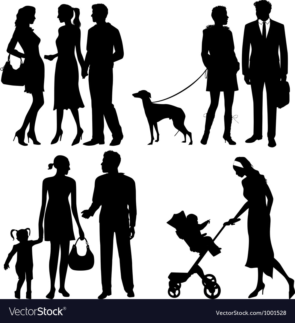 Several people on the street - silhouettes vector | Price: 1 Credit (USD $1)