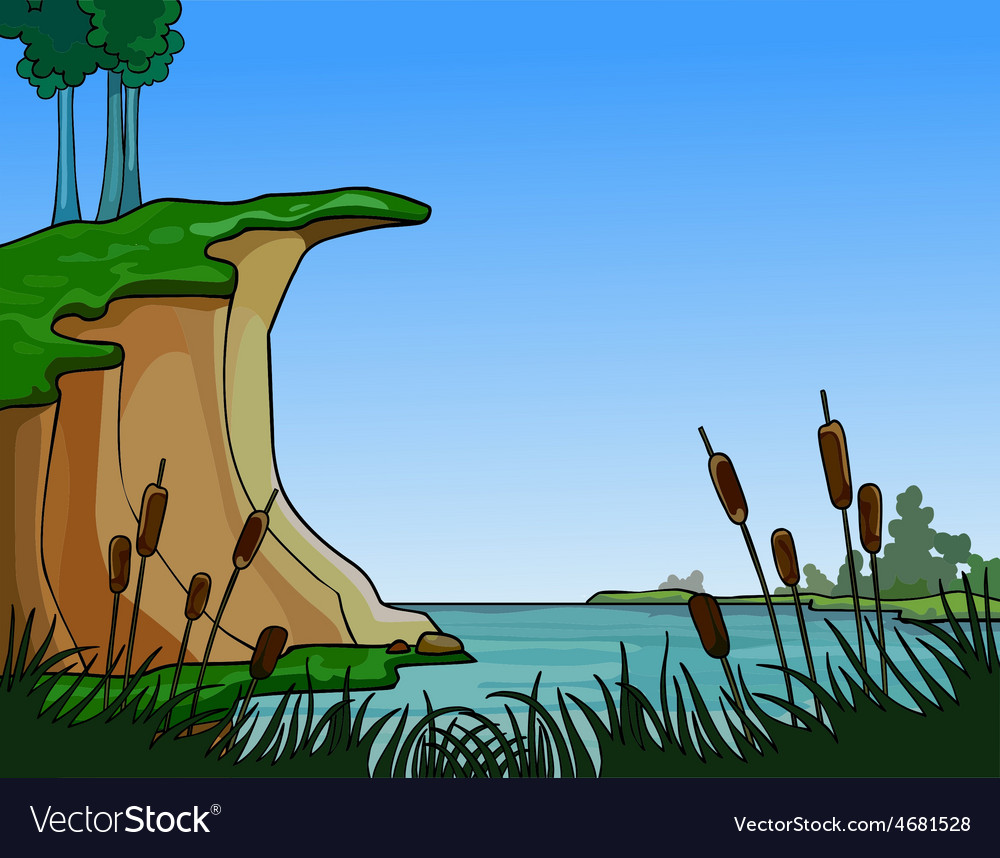 Summer landscape river in the reeds vector | Price: 3 Credit (USD $3)