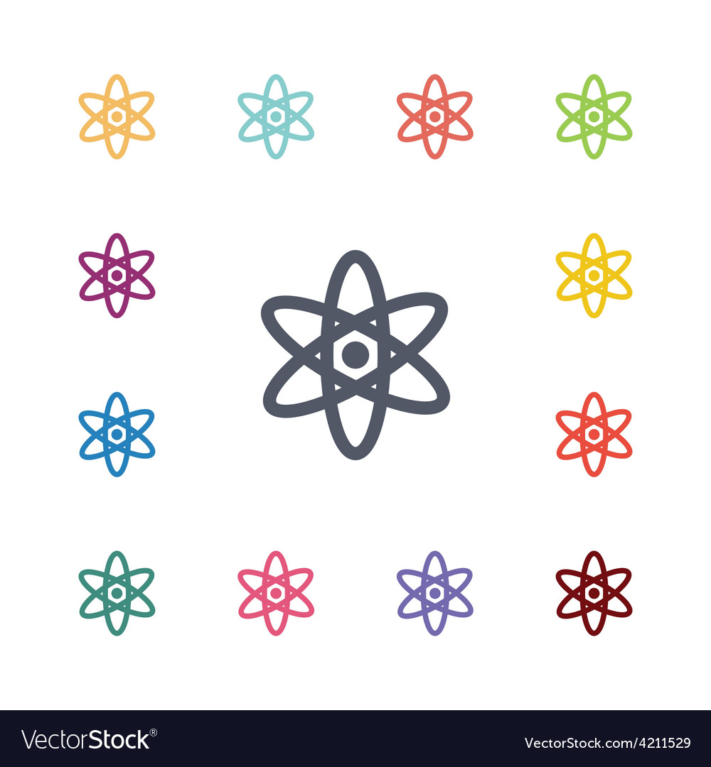 Atom flat icons set vector | Price: 1 Credit (USD $1)
