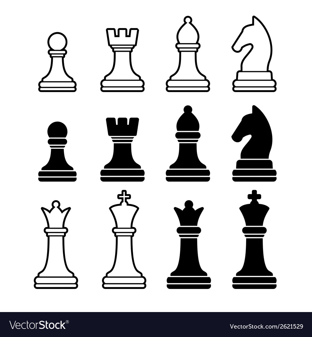 Chess pieces including king queen rook pawn knight vector | Price: 1 Credit (USD $1)