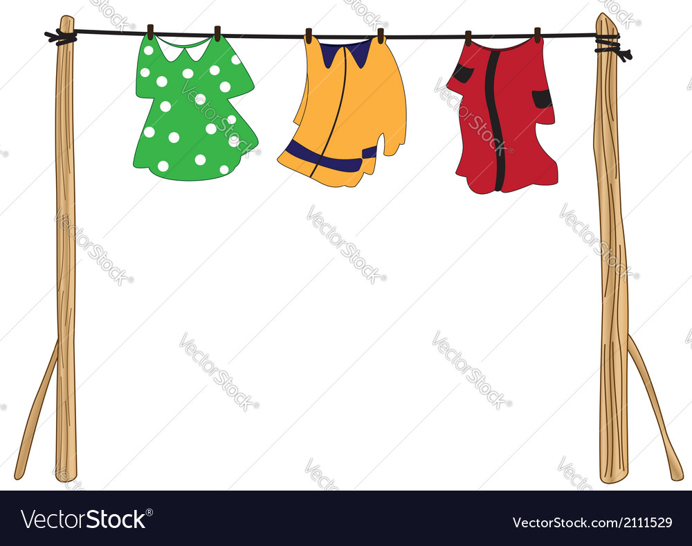 Clothes on a rope vector | Price: 1 Credit (USD $1)