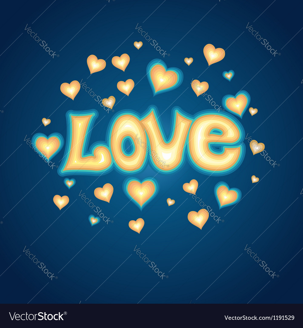 Love lettering against background with hearts vector | Price: 1 Credit (USD $1)