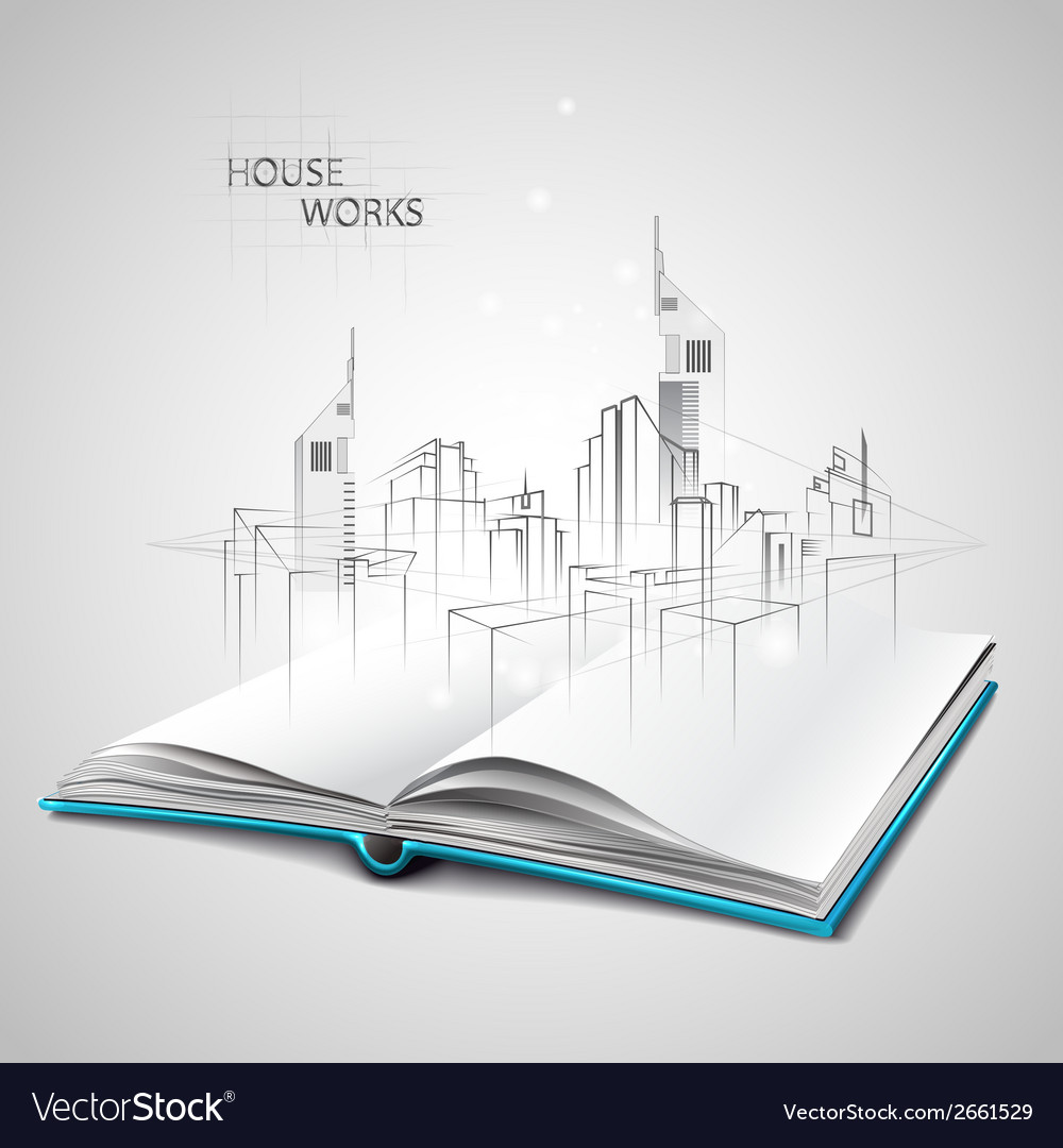 Opened book and drawing building sketches vector | Price: 1 Credit (USD $1)