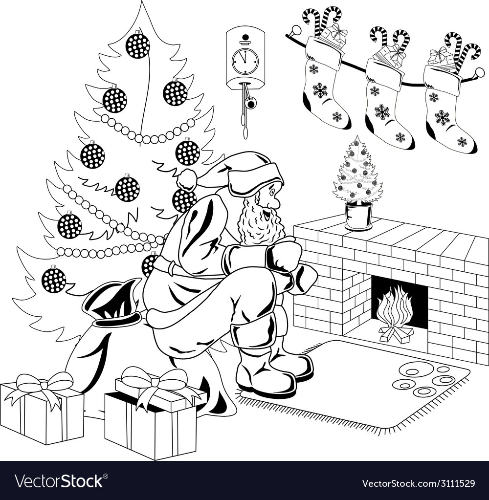 Santa claus sits by the fire vector | Price: 1 Credit (USD $1)
