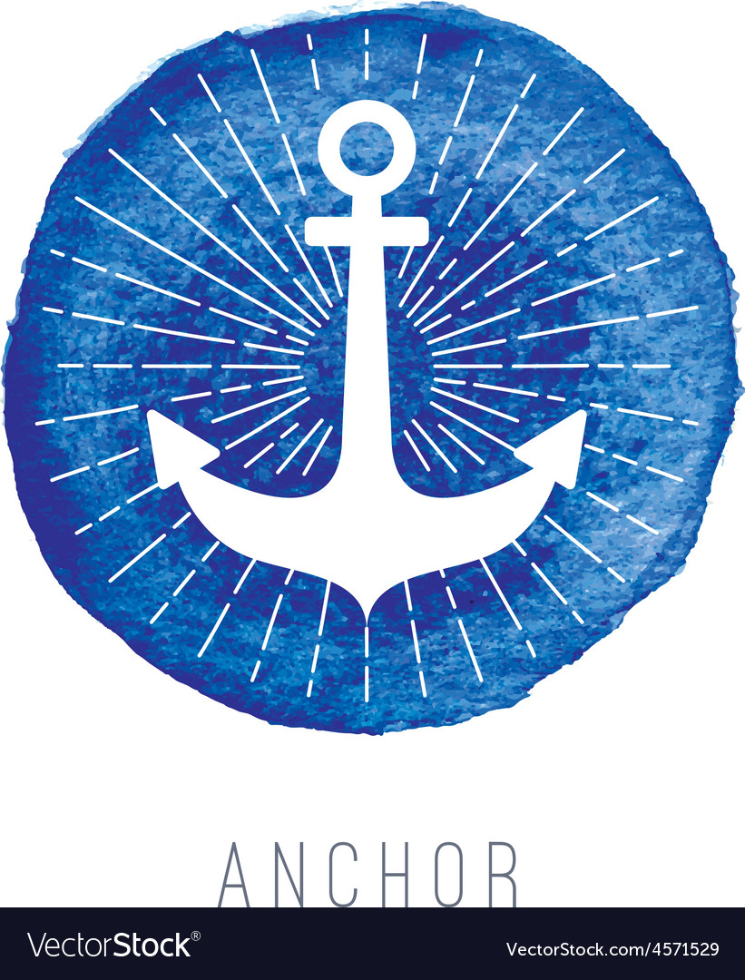 Watercolor nautical logo with an anchor vector | Price: 1 Credit (USD $1)