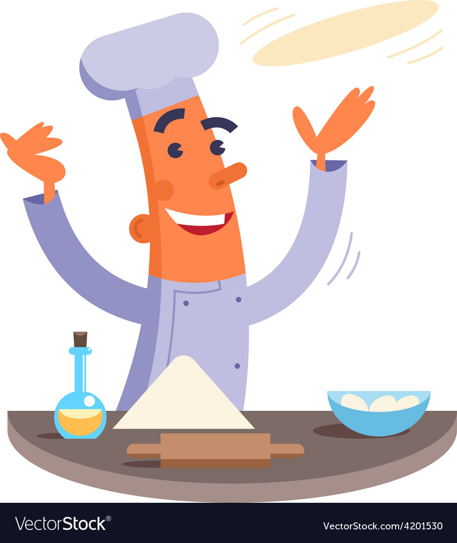 Cartoon chef making pizza dough vector | Price: 3 Credit (USD $3)