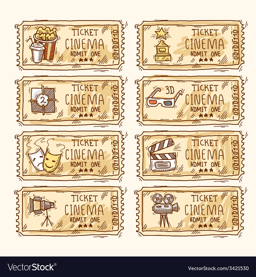 Cinema ticket set vector | Price: 1 Credit (USD $1)