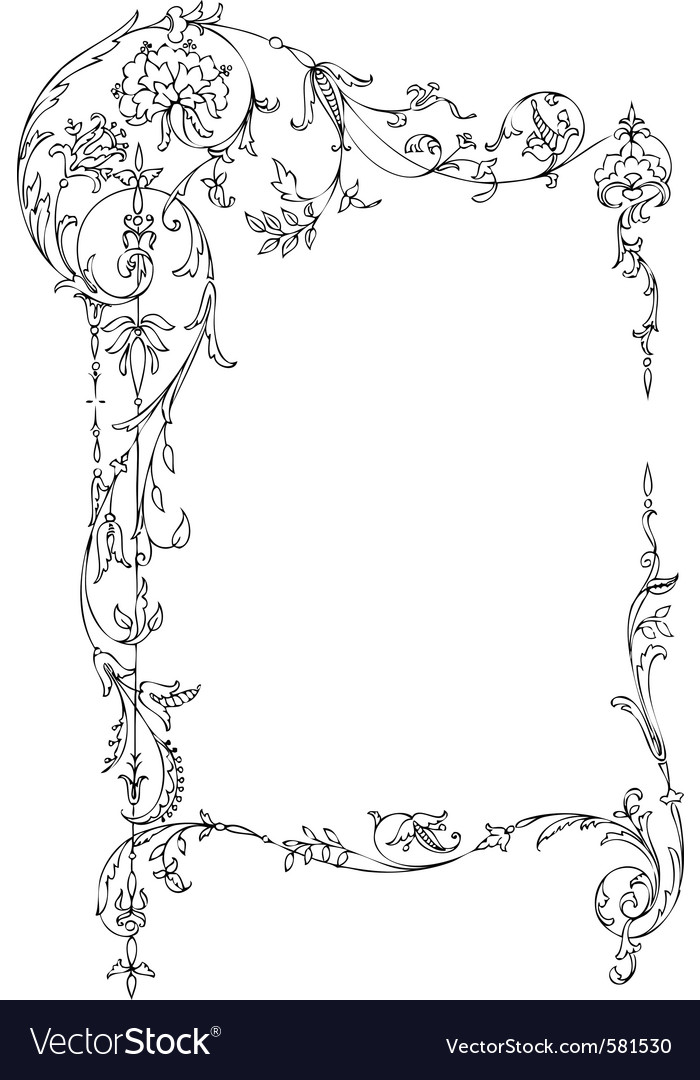 Classic floral frame vector | Price: 1 Credit (USD $1)