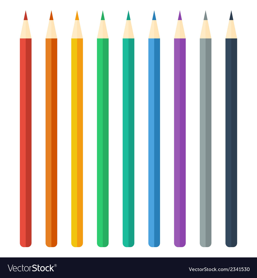 Colored pencils bright colorful set vector | Price: 1 Credit (USD $1)