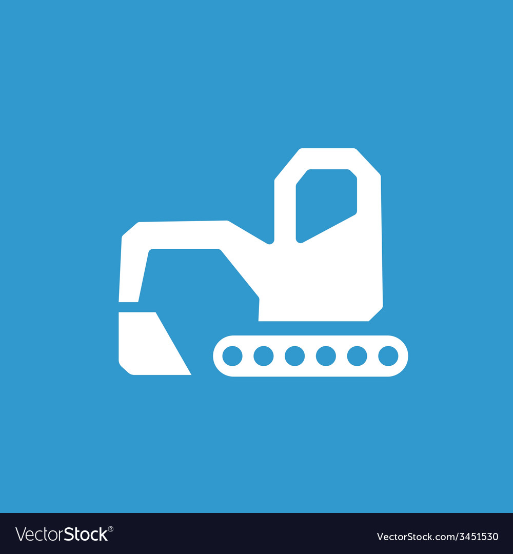Excavator icon white on the blue background vector | Price: 1 Credit (USD $1)