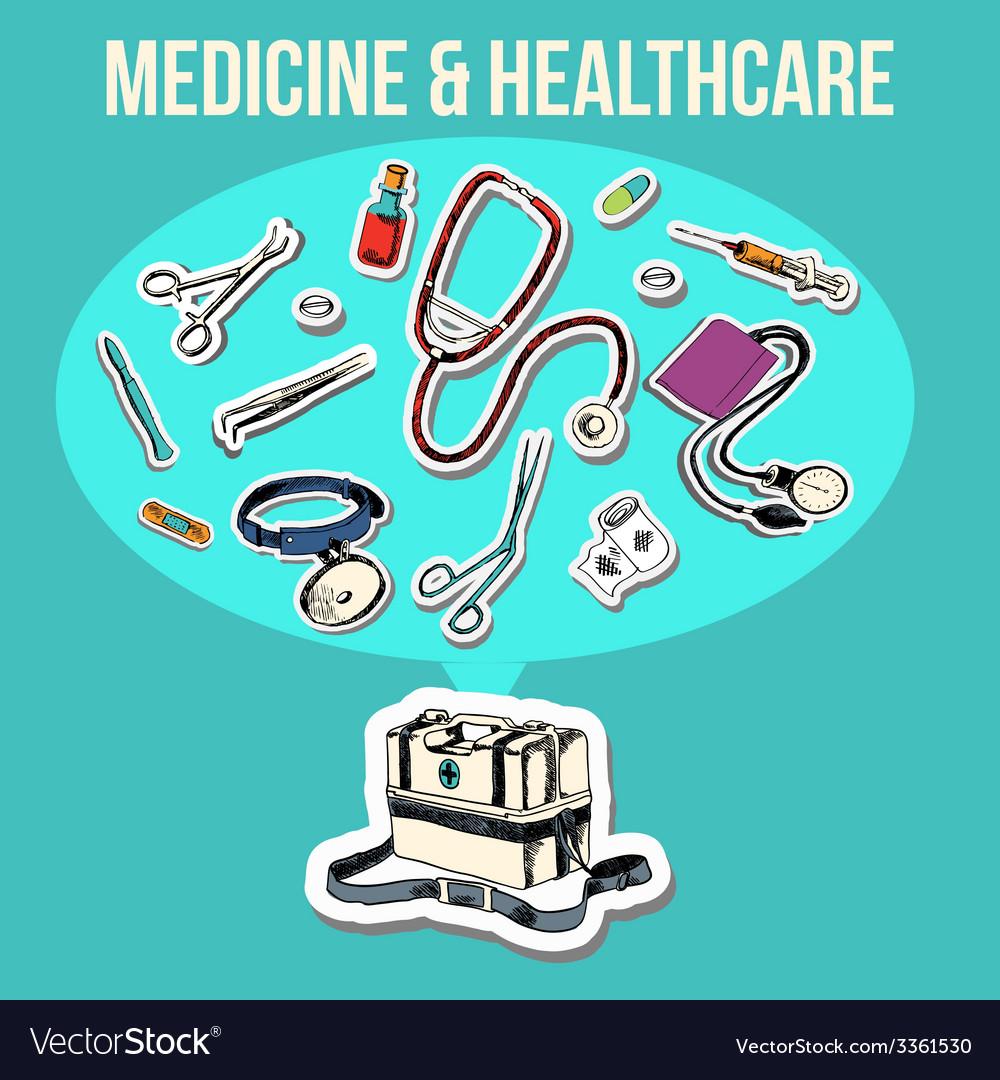 Medicine sketch design vector | Price: 1 Credit (USD $1)