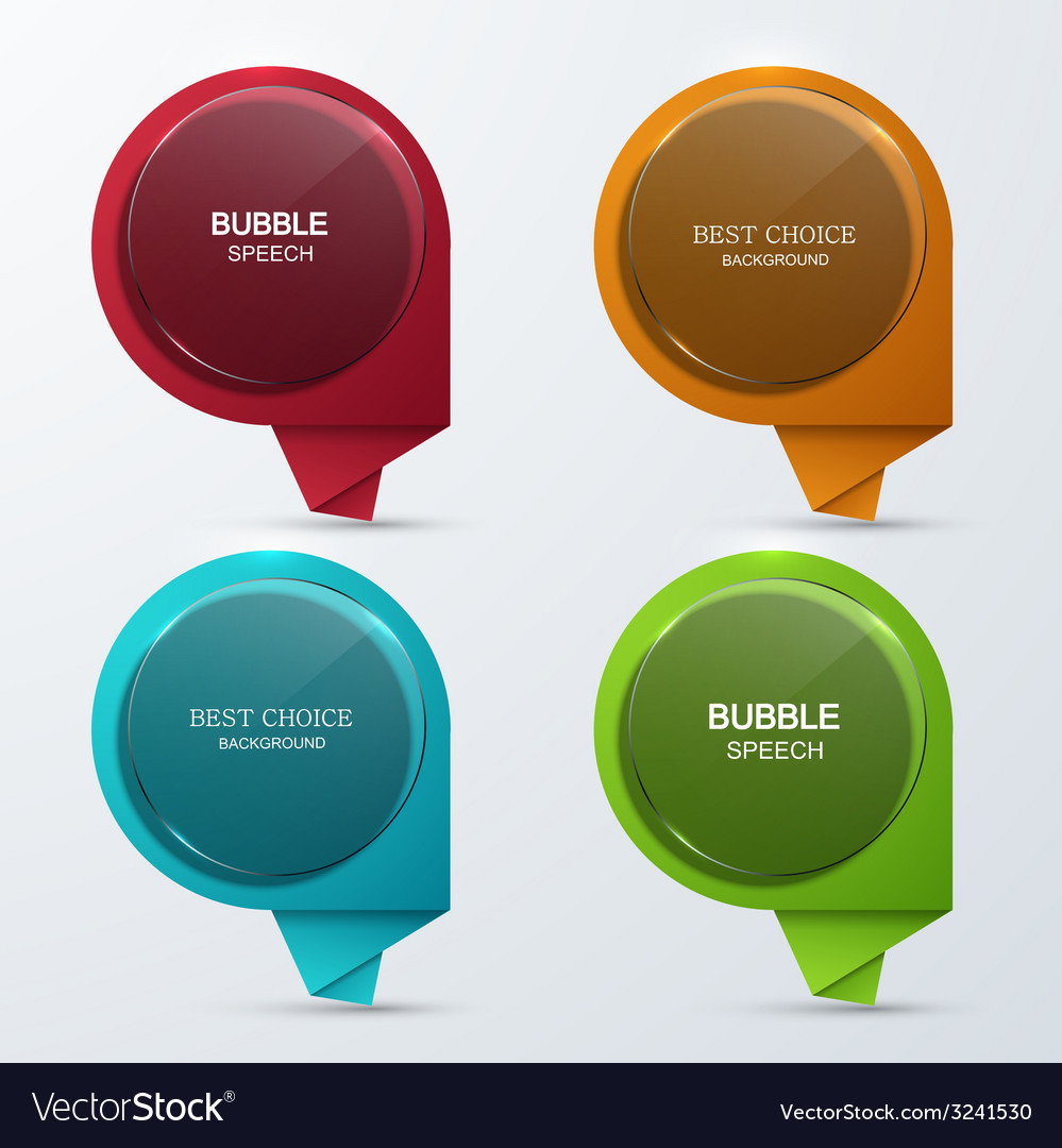 Modern glass bubble speech icons set vector | Price: 1 Credit (USD $1)