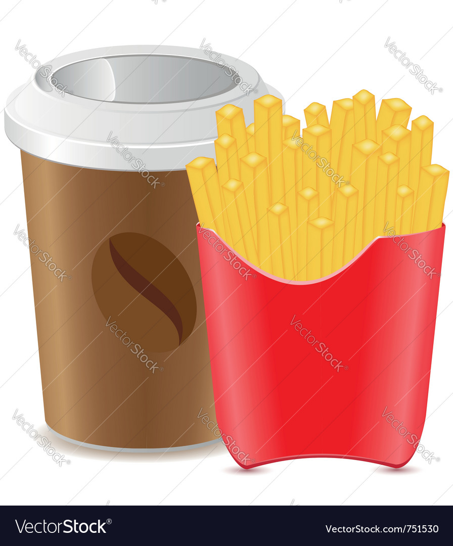 Paper cup with coffee and fries potato vector   Price: 1 Credit (USD $1)