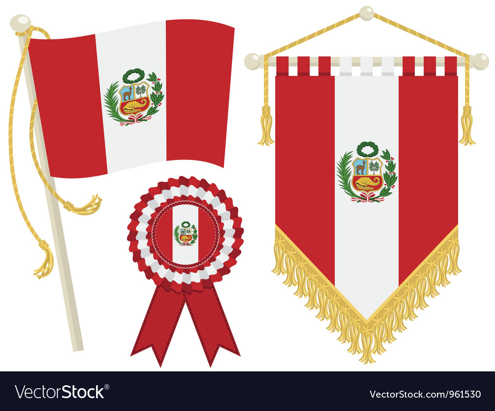 Peru flags vector | Price: 1 Credit (USD $1)