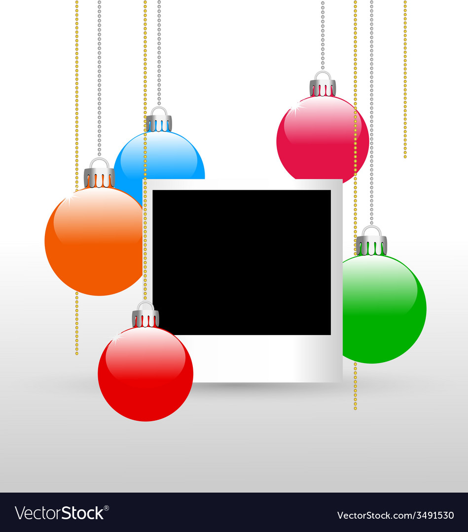 Photoframe with christmas balls vector | Price: 1 Credit (USD $1)
