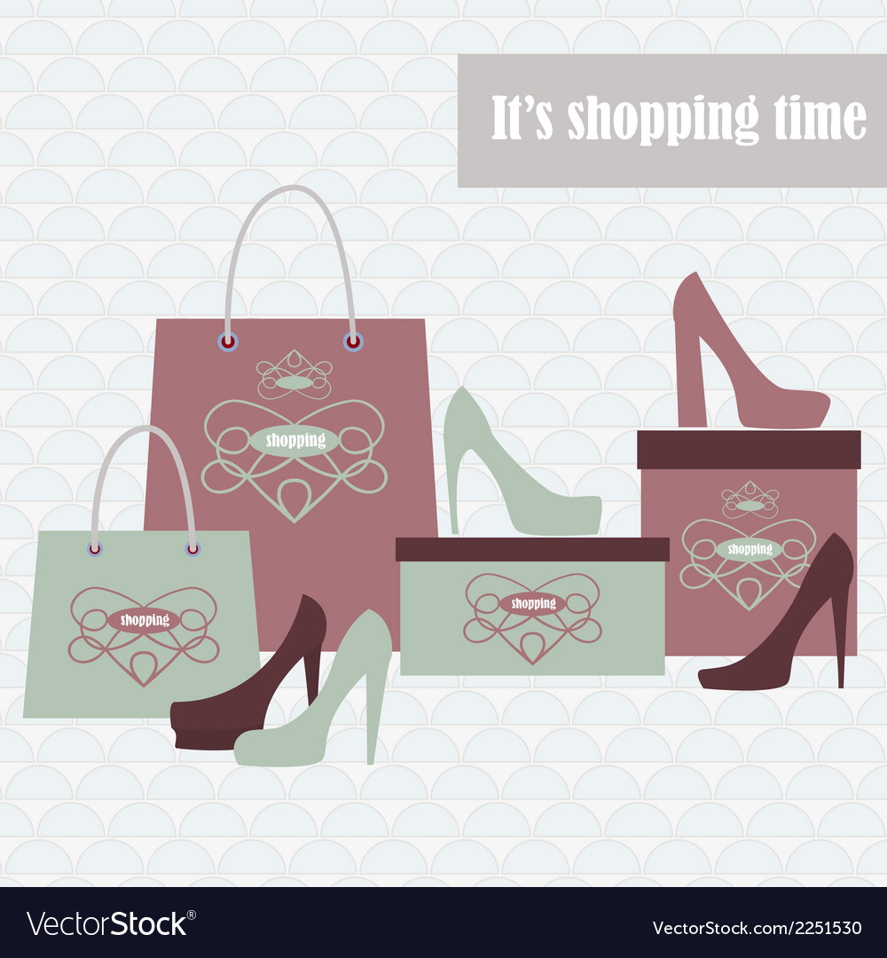 Shopping bags and fashion shoes vector | Price: 1 Credit (USD $1)