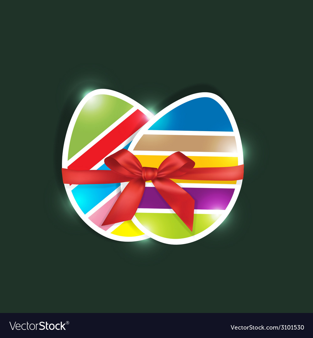 Sliced colored easter eggs gift in green vector | Price: 1 Credit (USD $1)