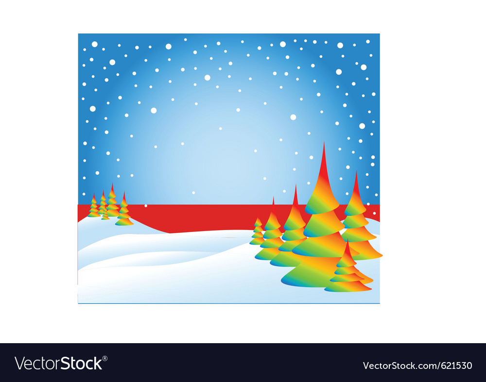 Snow falling on the trees vector | Price: 1 Credit (USD $1)