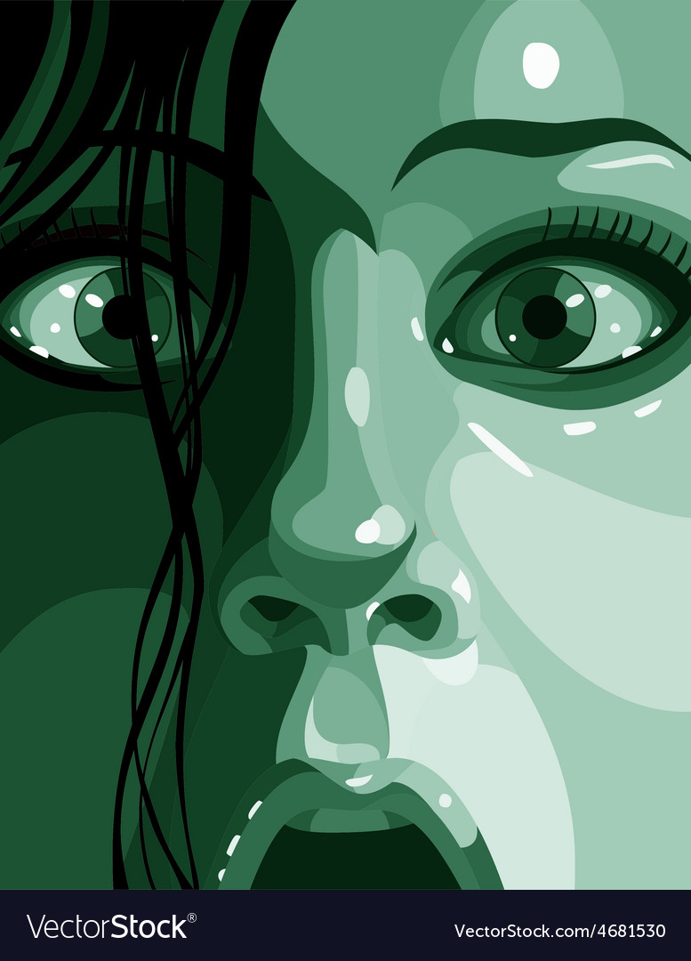Surprised face in shades of green close up vector | Price: 3 Credit (USD $3)