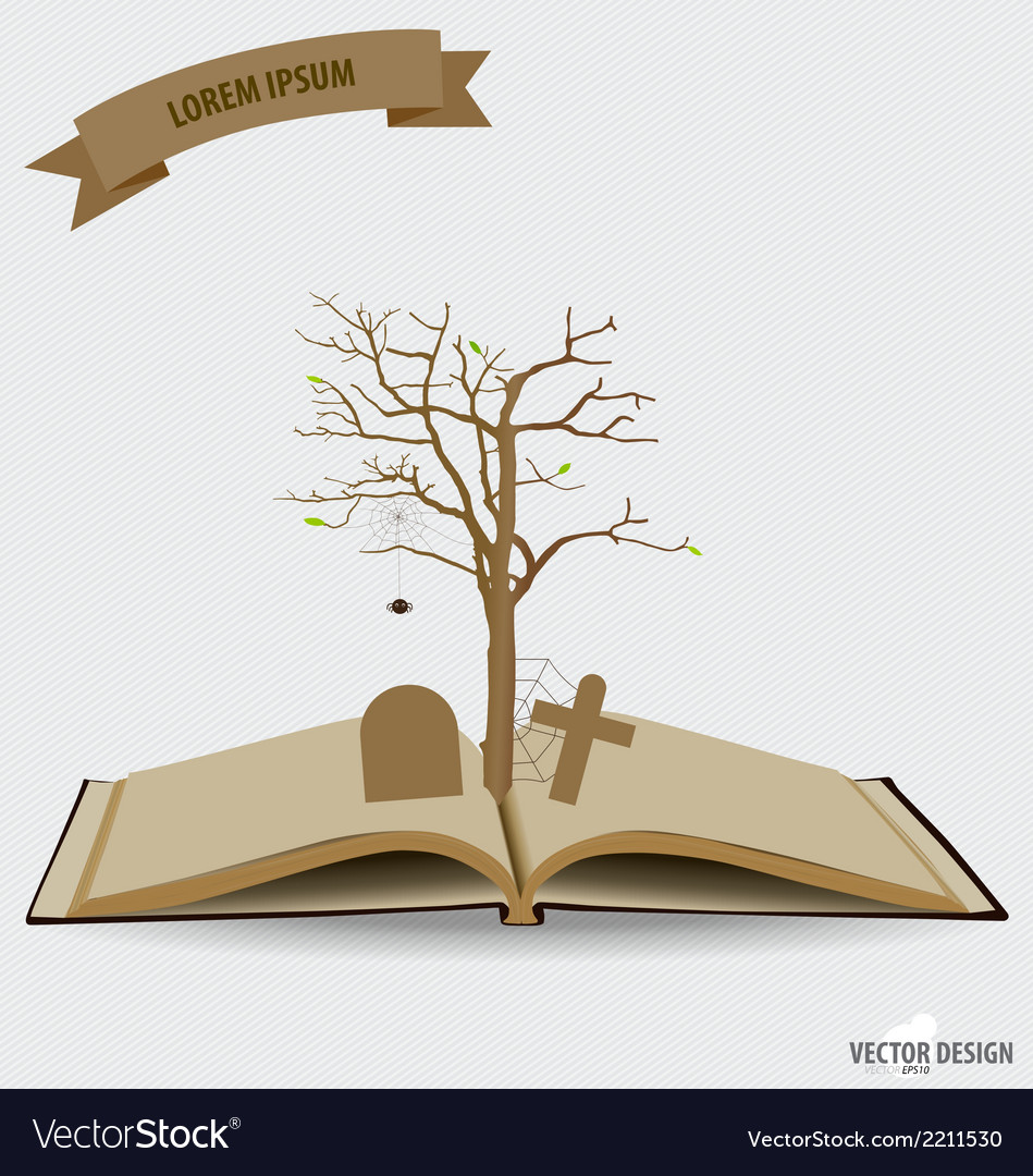 Tree on opened book vector | Price: 1 Credit (USD $1)