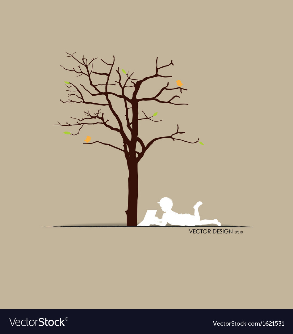 Background with children read a book under tree i vector | Price: 1 Credit (USD $1)