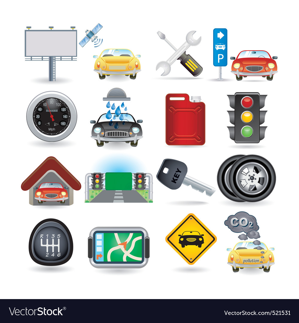 Car icon set vector | Price: 5 Credit (USD $5)