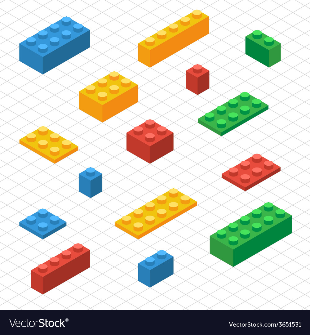 Do your self set of lego blocks in isometric view vector | Price: 1 Credit (USD $1)