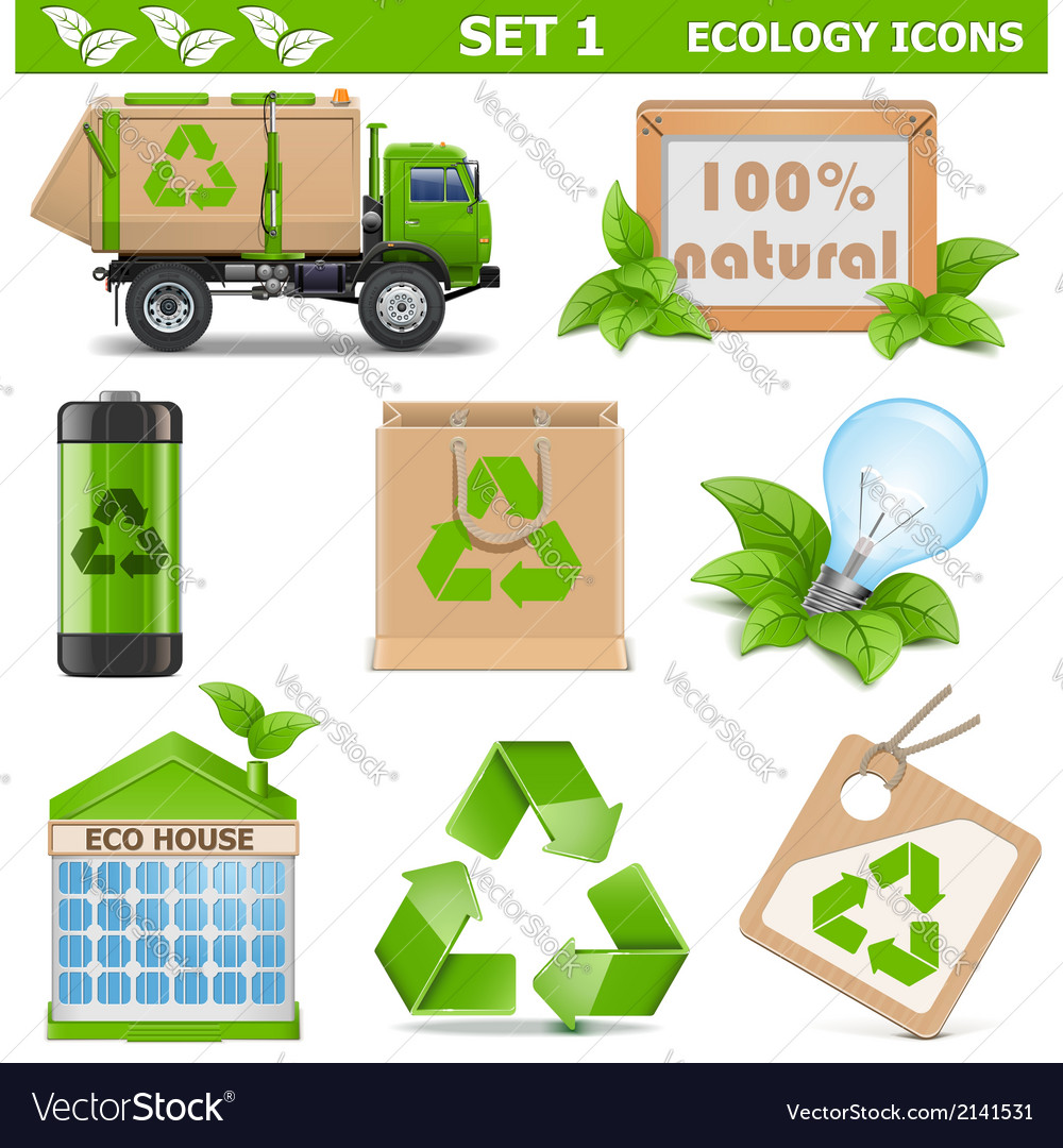 Ecology icons set 1 vector | Price: 3 Credit (USD $3)