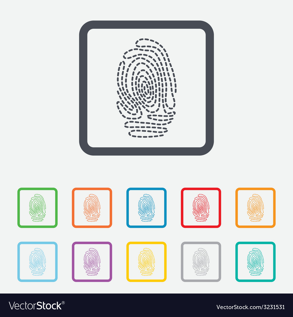 Fingerprint sign icon identification symbol vector | Price: 1 Credit (USD $1)