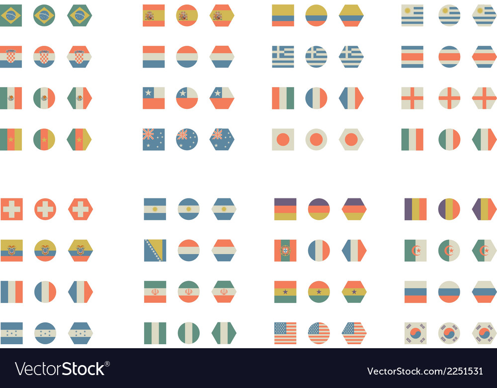 Flat flags foot vector