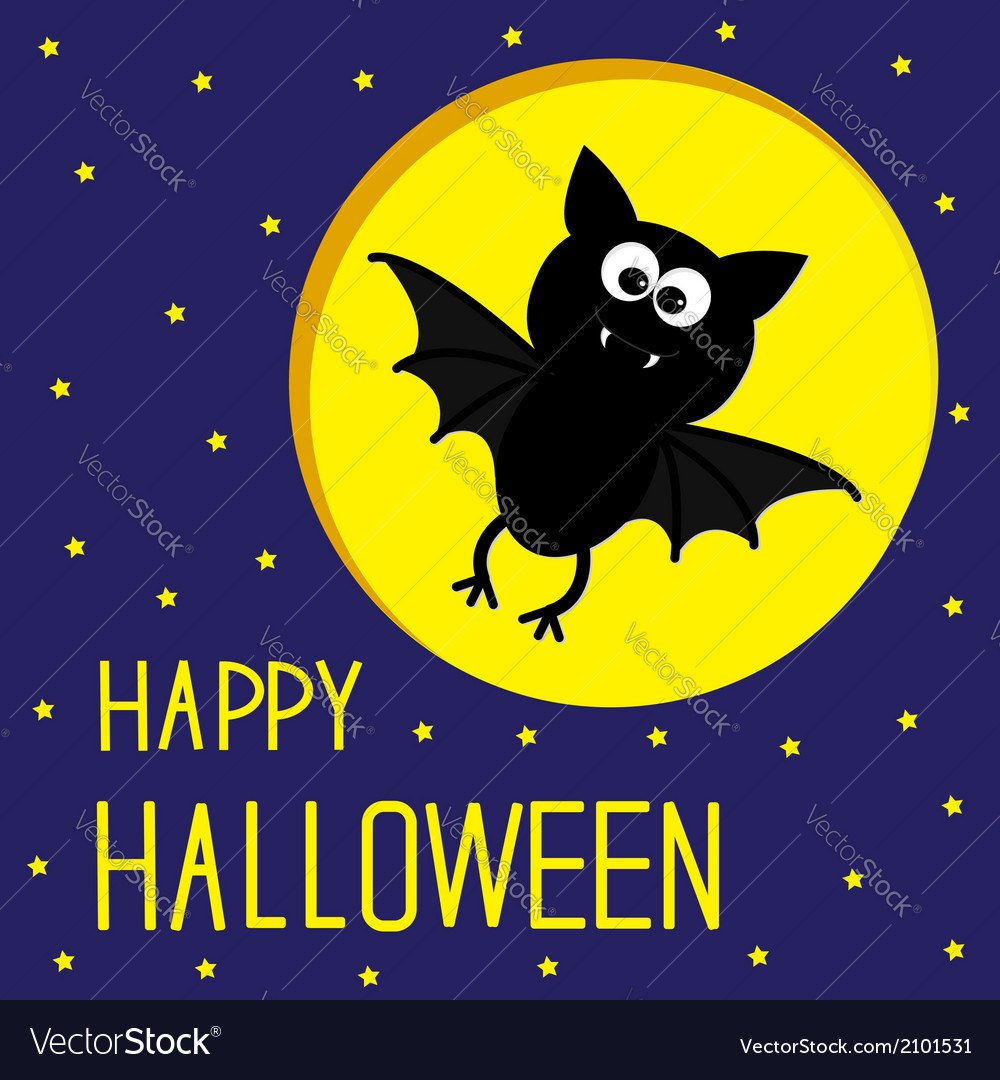 Flying bat starry sky and moon halloween card vector | Price: 1 Credit (USD $1)