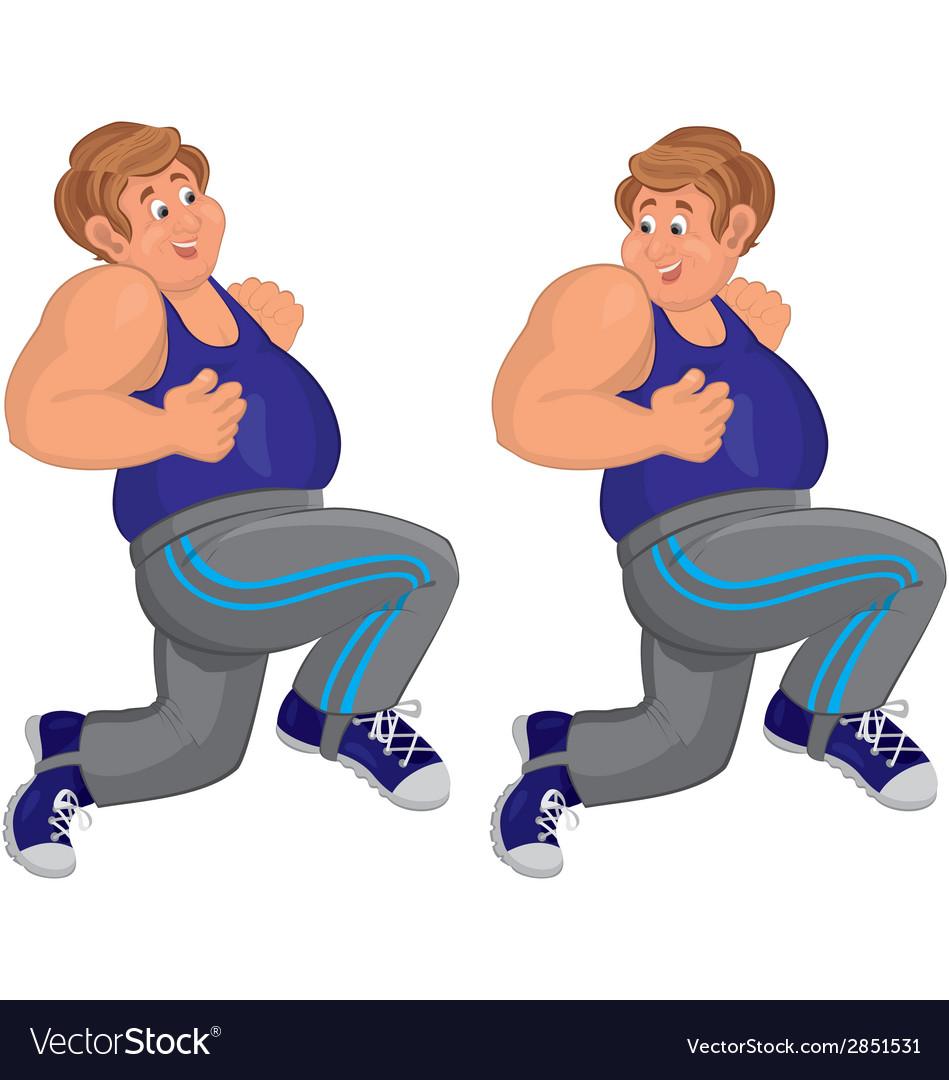 Happy cartoon man running in blue top vector | Price: 1 Credit (USD $1)