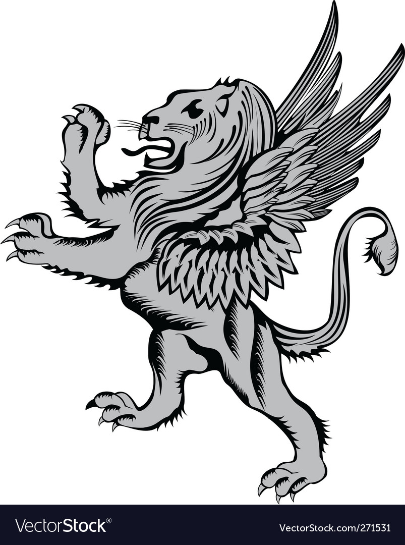 Heraldic symbol lion with wings vector | Price: 1 Credit (USD $1)