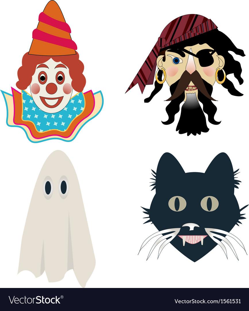 Kids halloween masks vector | Price: 1 Credit (USD $1)