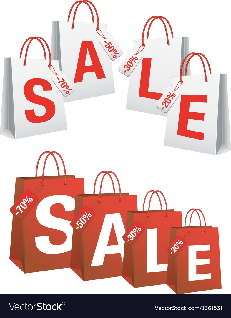 Sale with shopping bags and tags vector | Price: 1 Credit (USD $1)